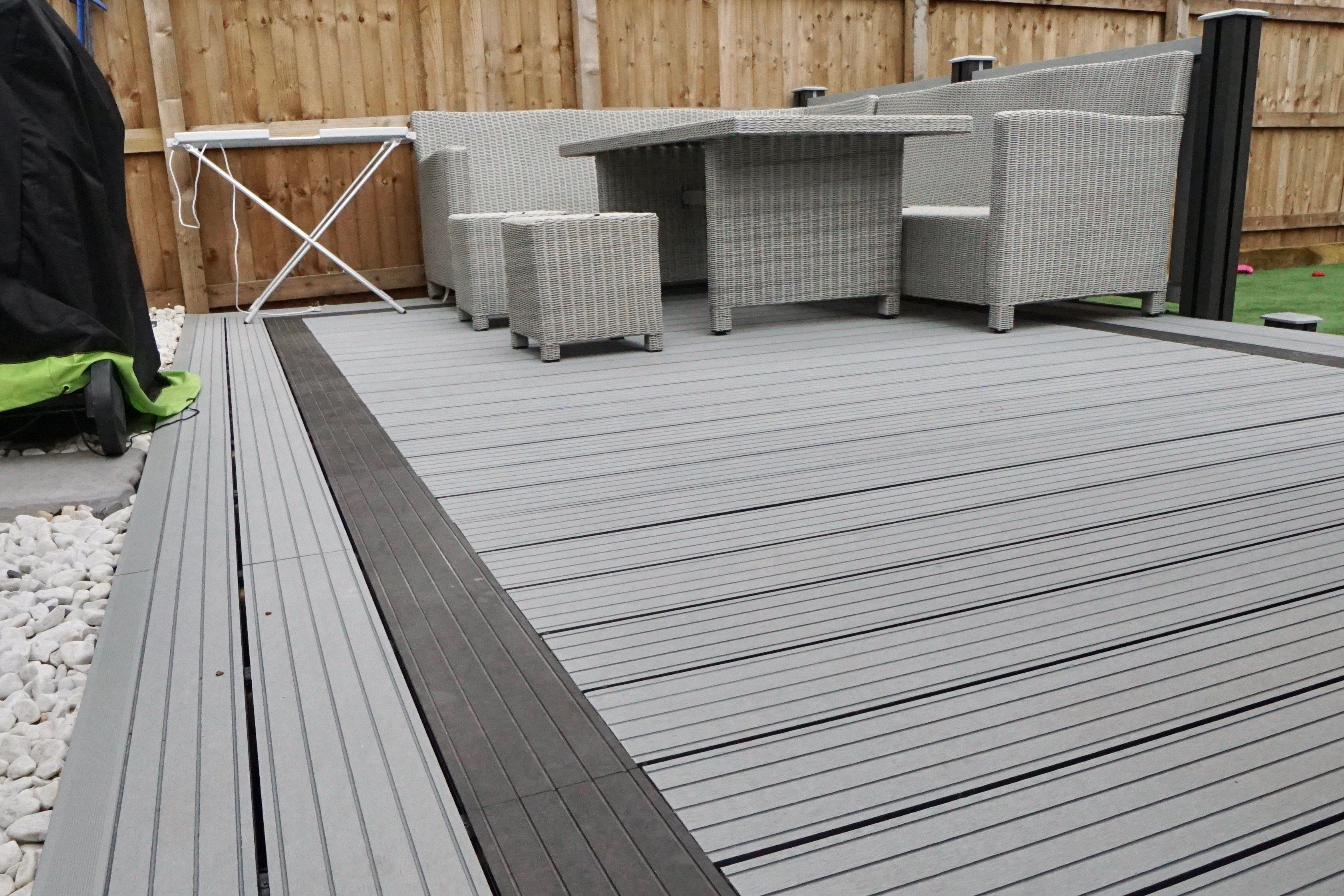 Grey composite decking and fencing paving traders for Composite decks