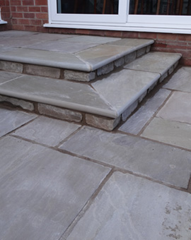 Steel edging and Stone Steps